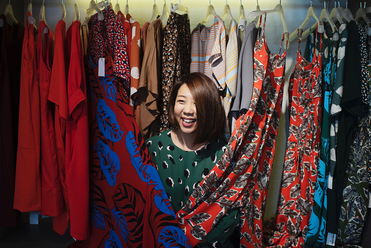 A woman shops at a trendy store in Florence, Italy
