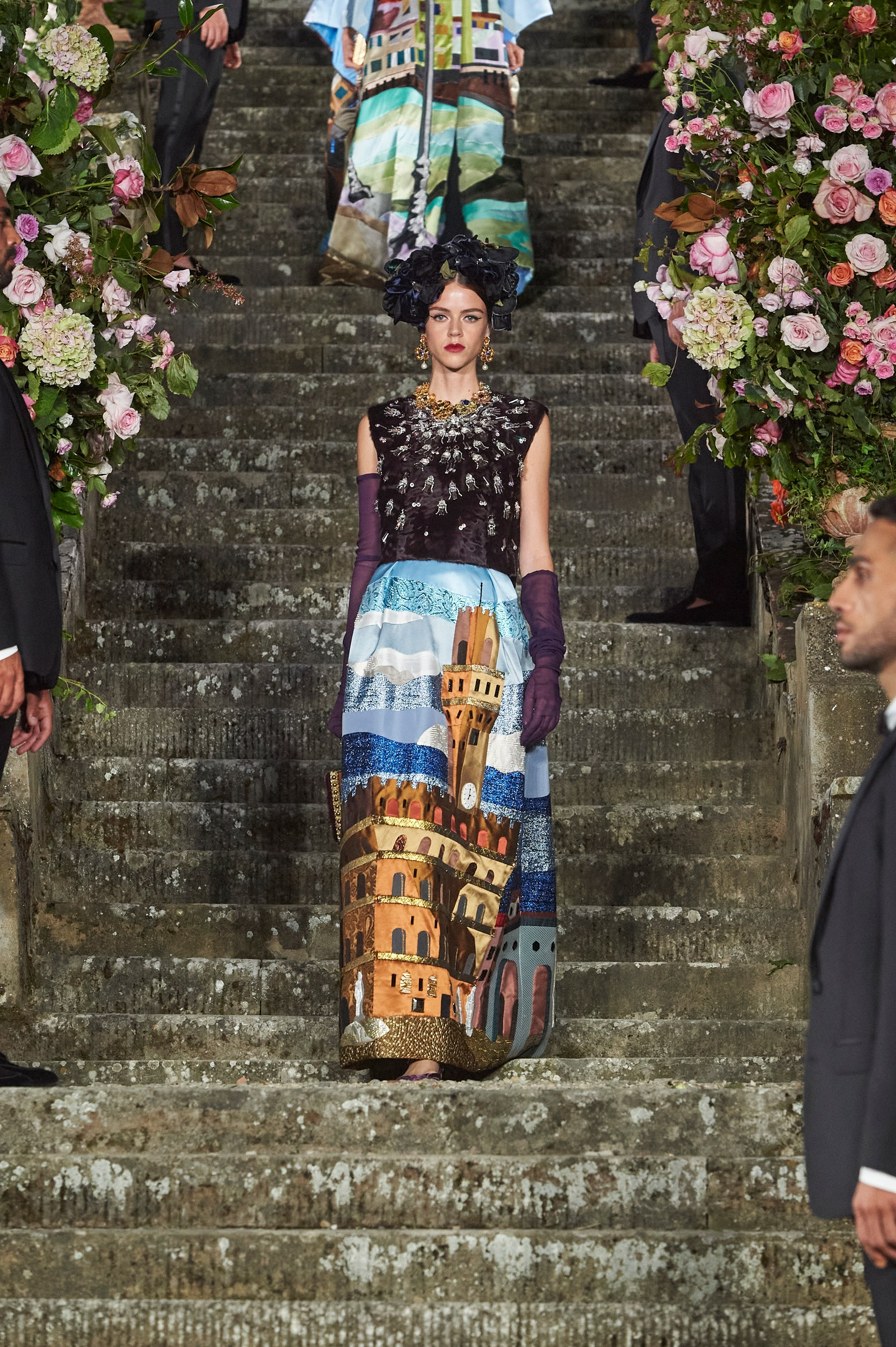 A model during Dolce and Gabbana show in Florence