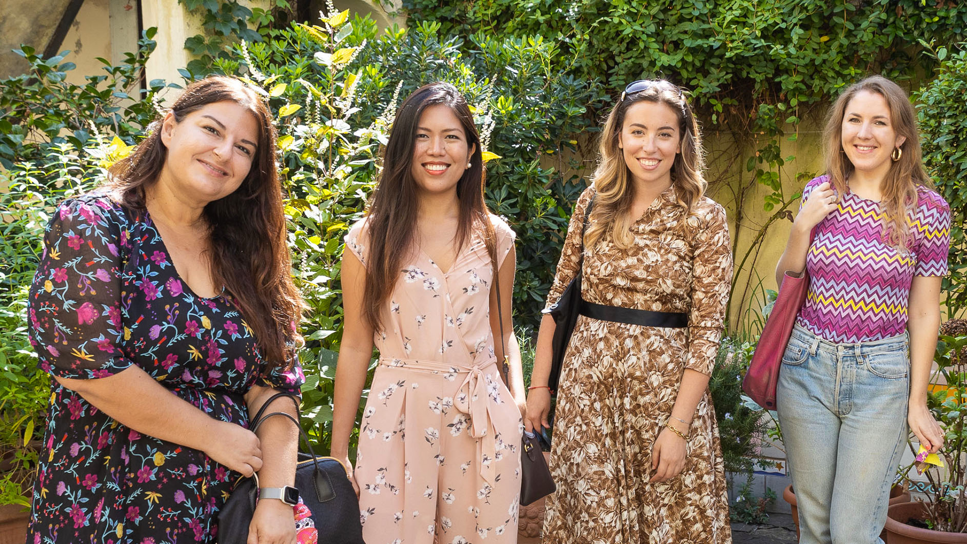 Alice Cozzi leads a groups of women during a fashion tour in Florence