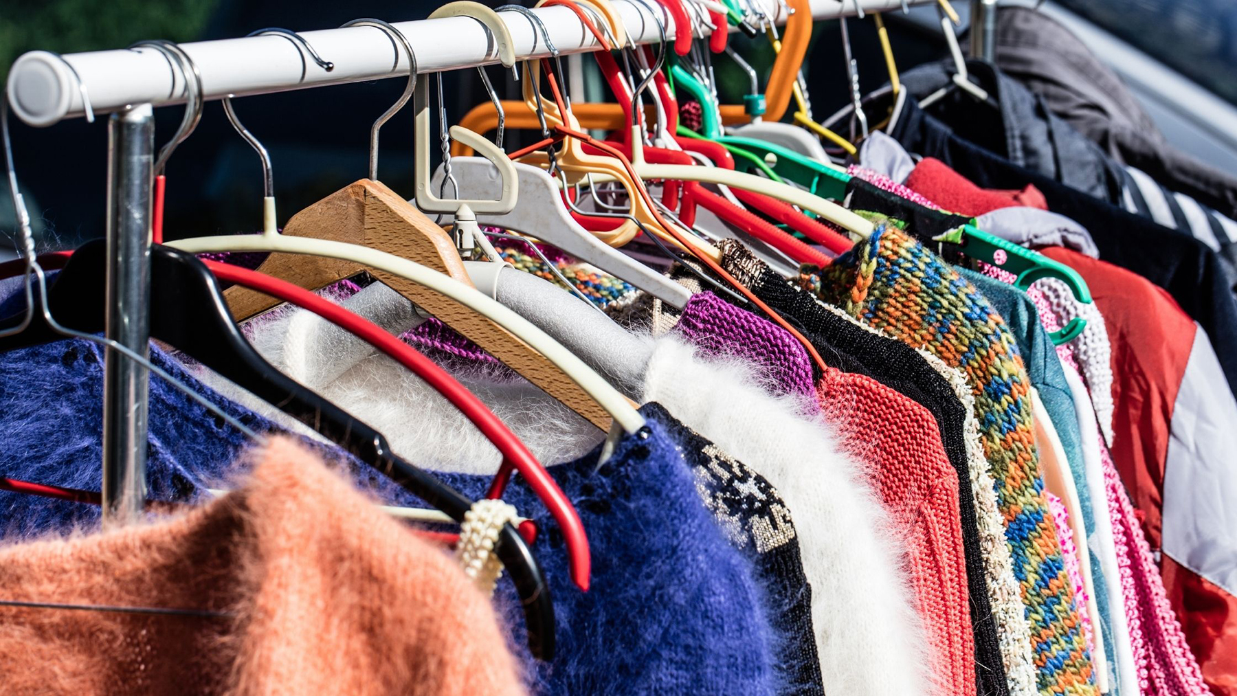 Colorful sweaters at Melrose Vintage in Florence