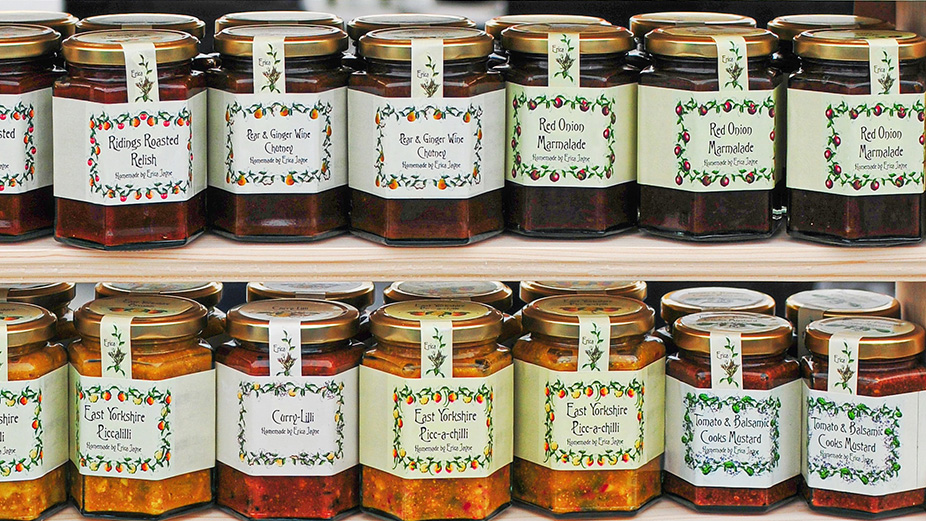 Tuscan homemade marmalade jars in a shop in Florence