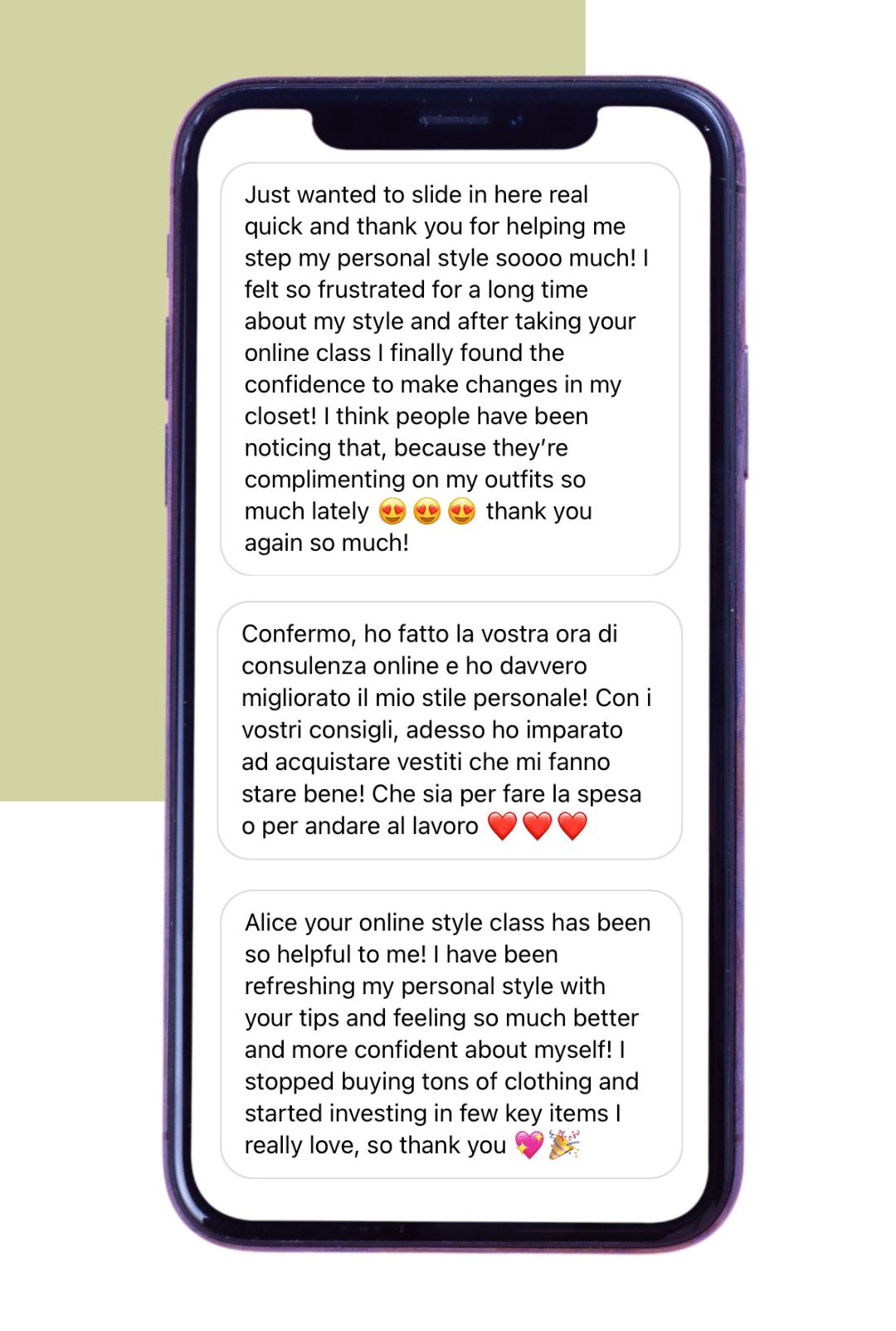 Screenshots of customers' reviews