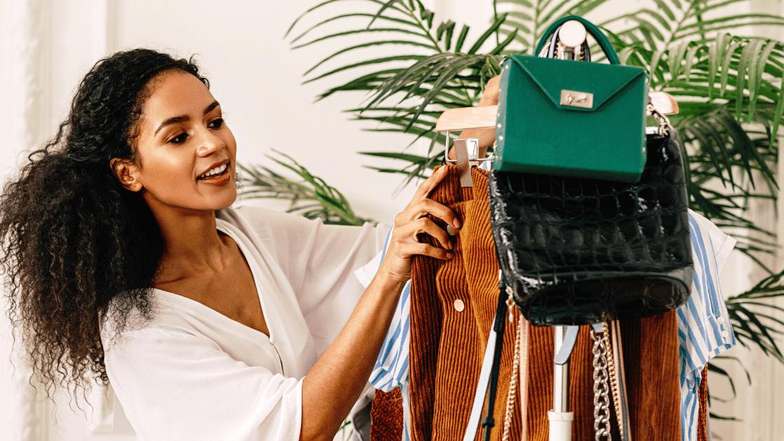 A fashion girl organizes her clothes