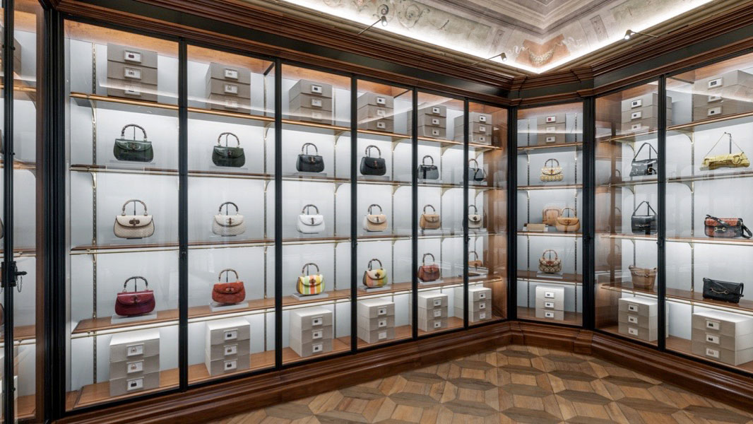 Bags at the Gucci museum at Palazzo Settimanni in Florence