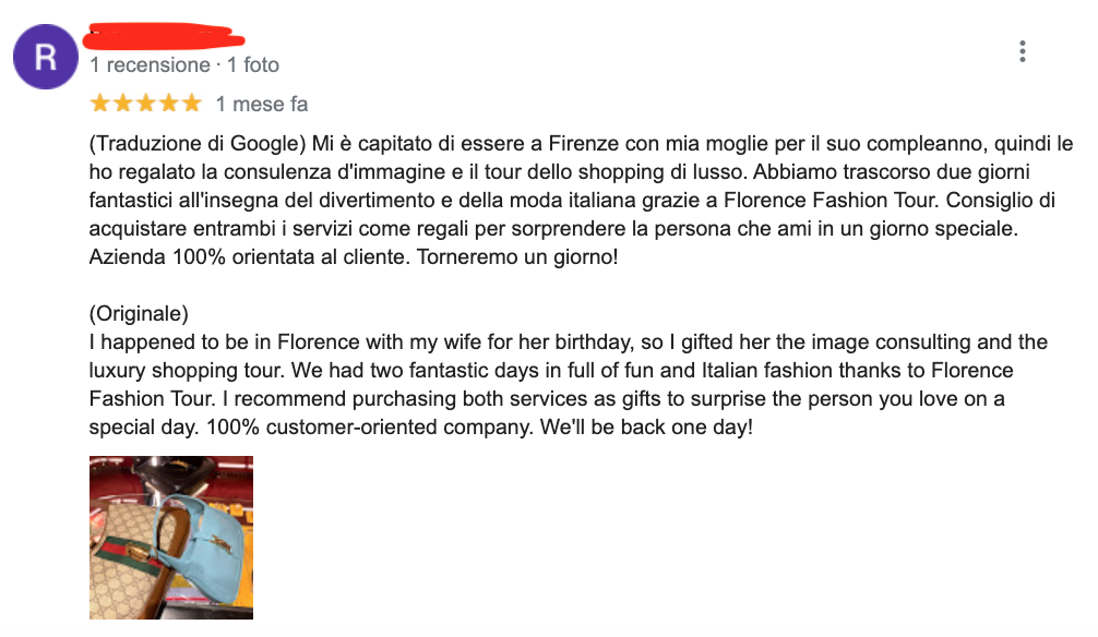 A Google review left by one of our lovely customers