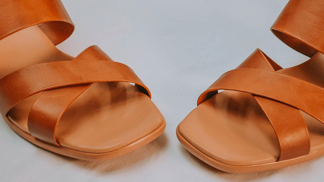 Orange women's leather sandals