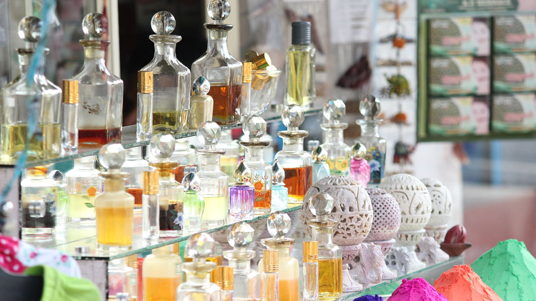 Handcrafted perfumes on display in a trendy shop in Florence